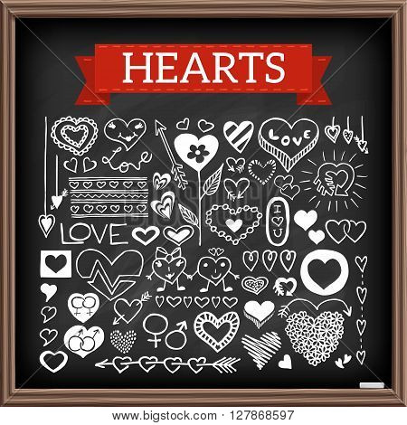 Heart doodles on chalk board. Hand drawn set of icons with words like love, hearts and flowers, separators, sex symbols, banners, labels. Graphic elements. Black chalkboard effect. Vector illustration