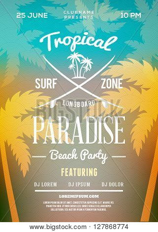 Beach Party Flyer Or Poster. Summer Night Party. Vector Template
