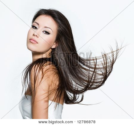 Sensual Woman With Beautiful Long Brown Hairs
