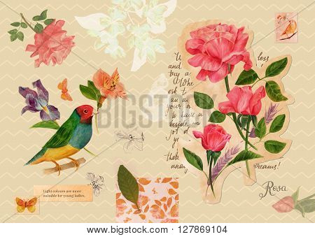 Vintage style collage: a post card with drawings and cutouts of Victorian roses and butterflies over fragment of handwritten text piece of wallpaper with floral motif dry leaf postage stamps