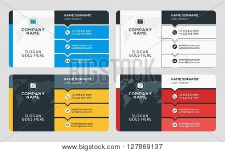 Creative Business Card Template. Flat Design Vector Illustration. Stationery Design. 4 Color Combina