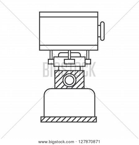 Camping gas vector linear icon. Single tourist stove isolated on white background in thin line design. Hiking gas stove outline pictogram for website and internet.
