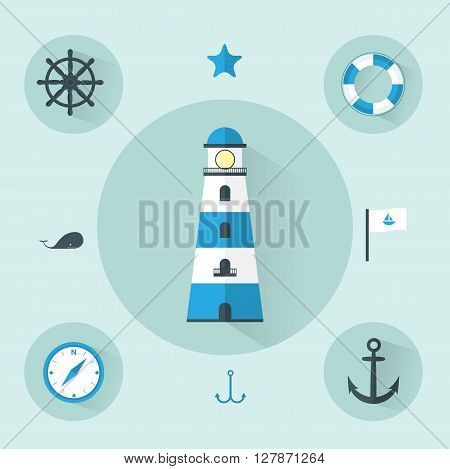 Flat Sea Blue Icons set Vector Illustration