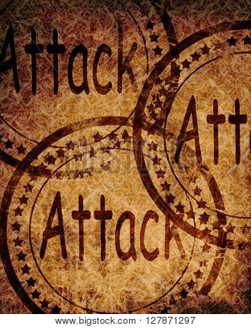 Attack stamp on grunge background