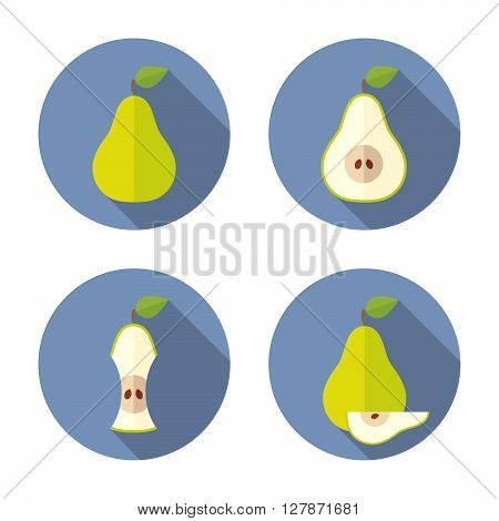 Whole and cut  pears. Flat style with shadow on blue background.