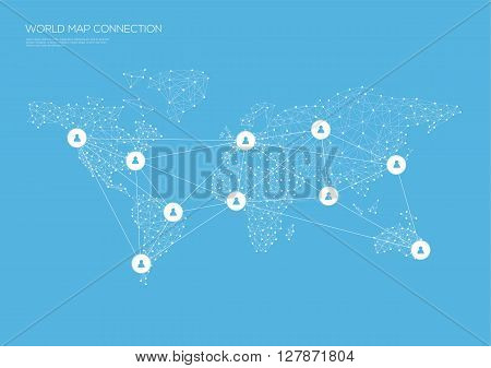 World map connection lines and icons. Vector illustration