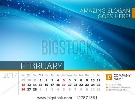 Desk Line Calendar For 2017 Year. Vector Design Print Template With Abstract Background. February. W