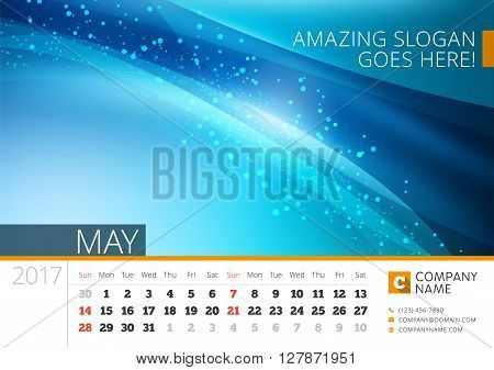 Desk Line Calendar For 2017 Year. Vector Design Print Template With Abstract Background. May. Week S