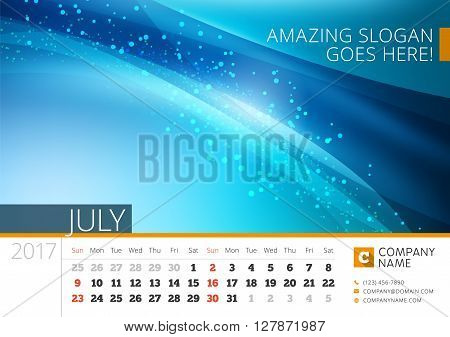 Desk Line Calendar For 2017 Year. Vector Design Print Template With Abstract Background. July. Week