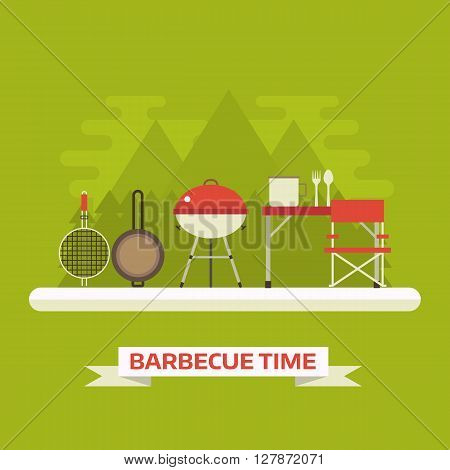 Summer picnic landscape. Family barbecue vector background. Picnic tools. Grill pan brazier tourist pot fork spoon camping table and chair.