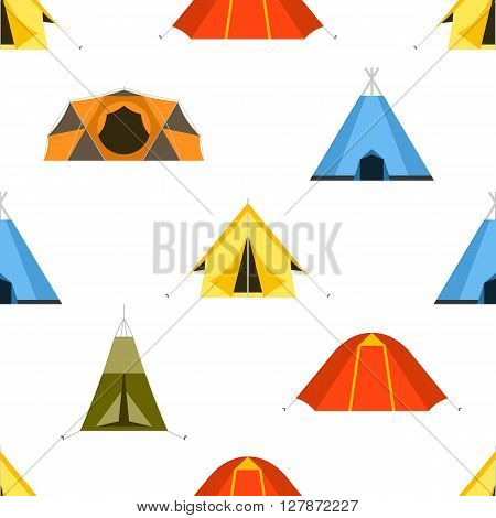 Camping tent vector seamless pattern. Tourist hiking tents endless texture for textile and backgrounds. Vector illustration backdrop for tourist website and applications on white back.
