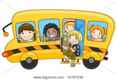 Kinder im Schulbus - Vektor