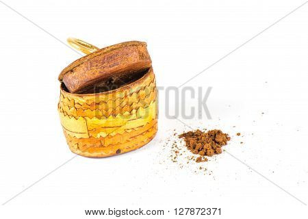 Old small gift pack tobacco snuff with tobacco on white background.