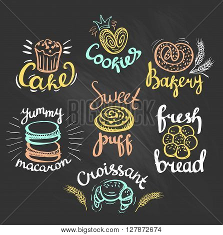 Set of color bakery logo on the chalkboard. Bakery labels.
