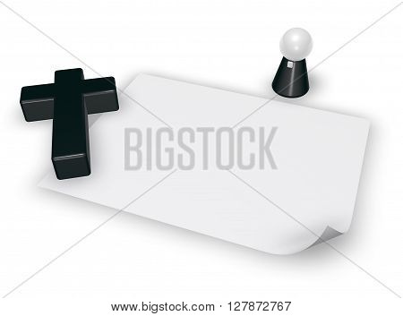 christian cross blank paper sheet and pope figur - 3d rendering