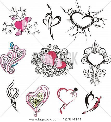 Set of miscellaneous decorative hearts. Vector illustrations.