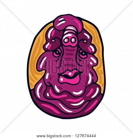 Portrait of a fat pink alien. Fictional creature from another planet. Vector cartoon character.