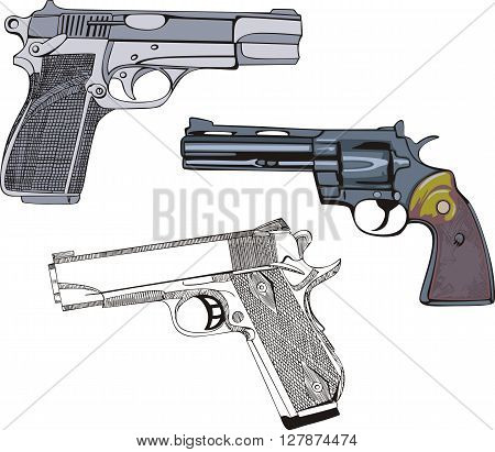 Guns Set - Pistols And Revolver