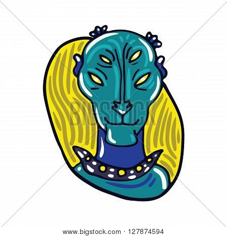 Portrait of a peaceful blue alien. Fictional creature from another planet. Vector cartoon character.