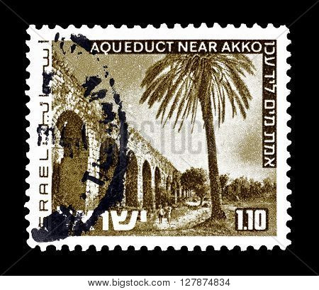 ISRAEL - CIRCA 1971 : Cancelled postage stamp printed by Israel, that shows Aqueduct near Akko.