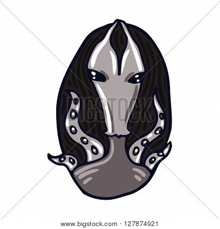 Portrait of a gray alien. Fictional creature from another planet. Vector cartoon character.