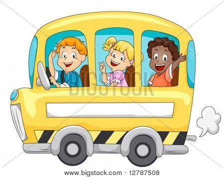 Children in School Bus - Vector