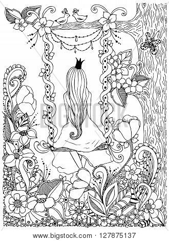 Vector illustration girl Princess zentangl riding on swing. Wood zenart dudlart. Black and white. Anti-stress. Adult coloring book.