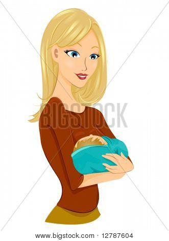 Girl cradling Baby - Vector
