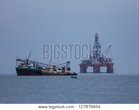 Oil well drilling at Walvis bay Namibia