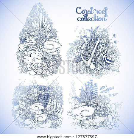 Coral reef design collection in line art style. Sea and ocean plants and rocks isolated on white. Coloring page design.