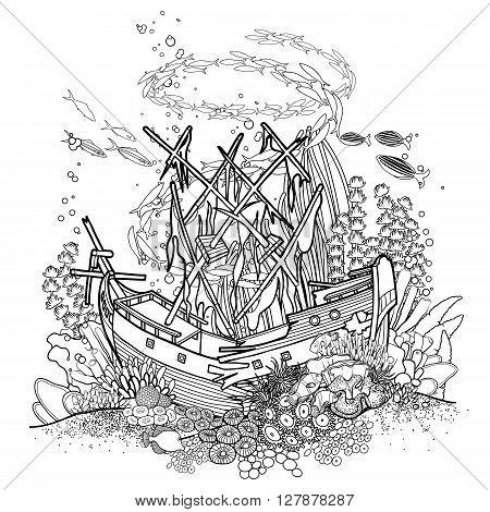 Ancient sunken ship and coral reef drawn in line art style. Ocean fish and plants  isolated on white background. Coloring book page design.