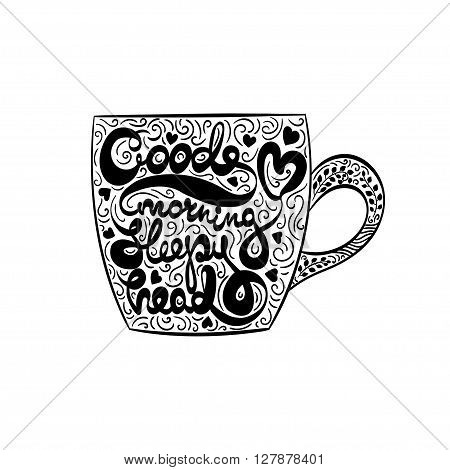 Vector Typography Lettering Good Morning Sleepy Head Illustration with an Artistic Vector Cup and Artistic Vector Typography Lettering Illustration for Print Poster Web Design Vector Lettering