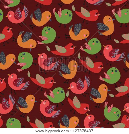 Colorful Vintage Cute Birds Vector Seamless Pattern with Colorful Vector Birds for T-Shirt Prints Wallpaper Wrapping Paper and Web Design Seamless Vintage Wallpaper Seamless Vector Pattern