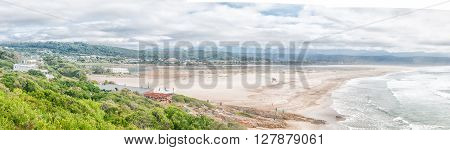 PLETTENBERG BAY SOUTH AFRICA - MARCH 3 2016: Panoramic view of the Keurbooms River lagoon and mouth as seen from the Whale Viewing Site