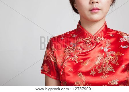 Close Up Of Asian Girl In Chinese Cheongsam Dress