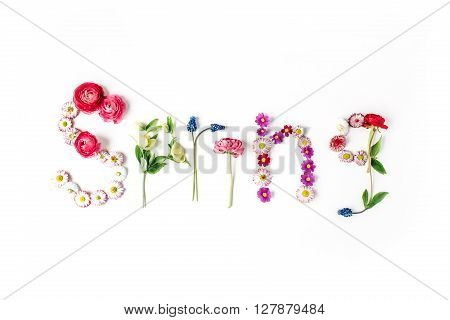 word spring isolated on white top view