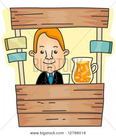 Businessman on Lemonade Stand - Vector