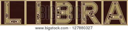 Libra Star Sign Word Wood Block Letters