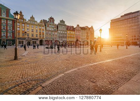 View on market square of Wroclaw during sunset Poland Europe.