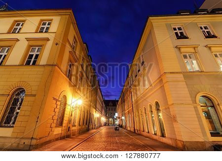 Ancient buildings in the centre of old town in Wroclaw. Poland Europe.