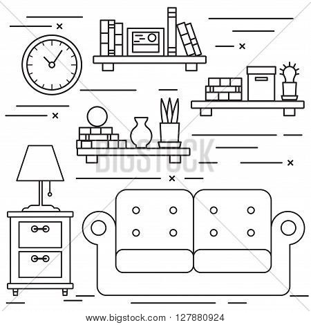 Black and white lineart living room with sofa and bookshelfs.