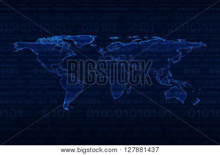 Digital world map over binary code blue background
