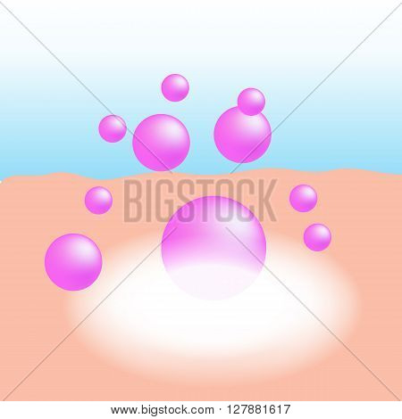 Pink collagen or essential vitamin absorb on the human skin with white glow light absorption infographic vector