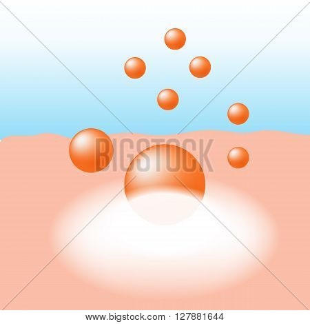 Vitamin orange essence of skin treatment absorb on the human skin with white glow light absorption infographic vector