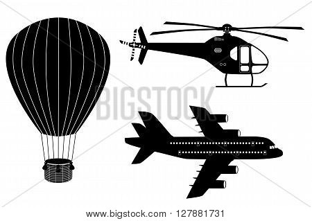 Silhouettes of air transport: plane helicopter and aerostat. Black and white vector icons set. Airline service. Flying airplanes illustration