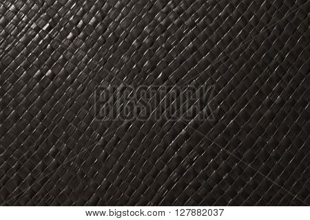 Background Pattern Black Square Handicraft Weave Texture Wicker Surface for Furniture Material.