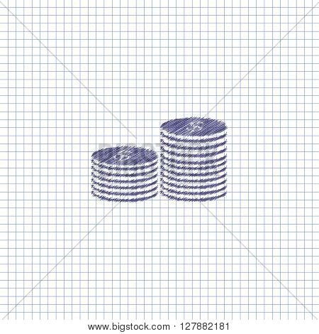 Flat vector icon. Scribble blue pen on a sheet of school notebook. Money. Coins.