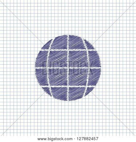 Flat vector icon. Scribble blue pen on a sheet of school notebook. Planet. Earth.