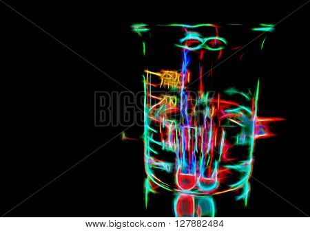 Colorful chemical cocktail, experimental background with neon lights in darkness, illustration in glow disco style of potion glass in the night, night lights fantasy illustration, colorful neon lines