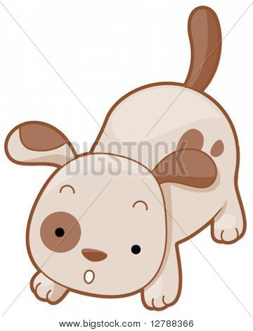 A Cute Dog Crouching in the Ground - Vector
